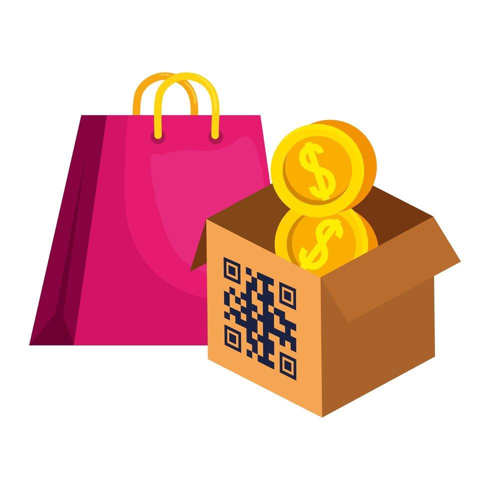 qr code over box bag e monete disegno vettoriale