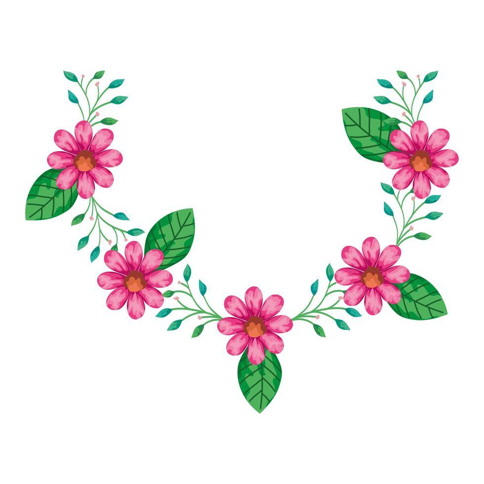 decorazione di graziosi fiori di colore rosa con rami e foglie vettore