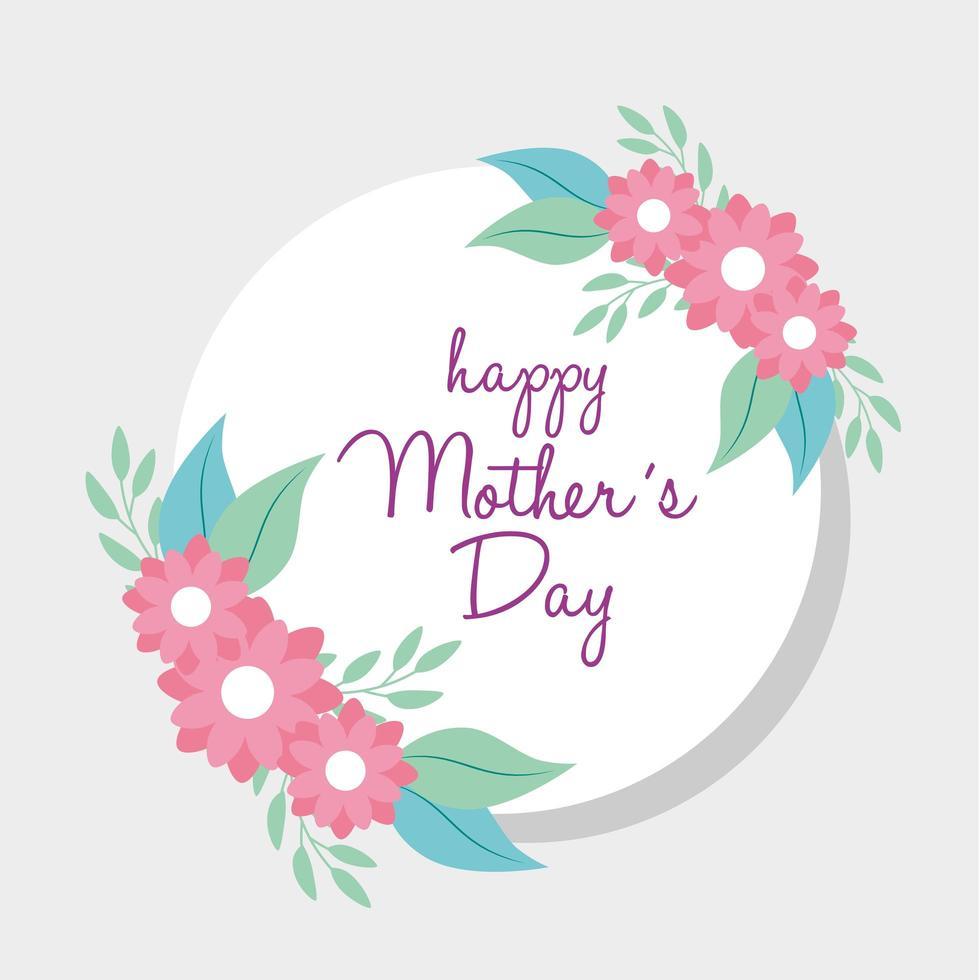 carta di felice festa della mamma e cornice circolare con decorazioni floreali vettore