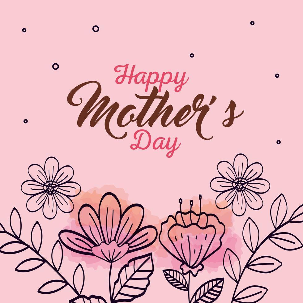 carta di felice festa della mamma con decorazione di fiori vettore