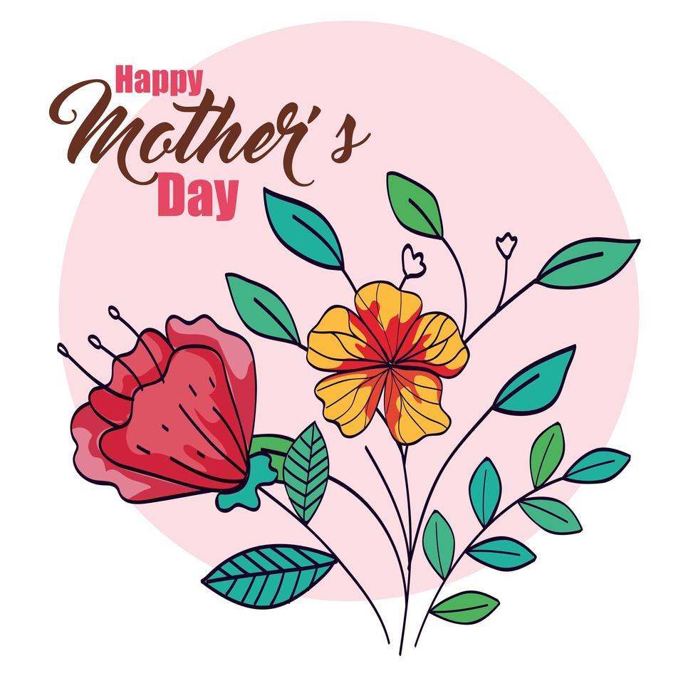 carta di felice festa della mamma con decorazioni di fiori e foglie vettore