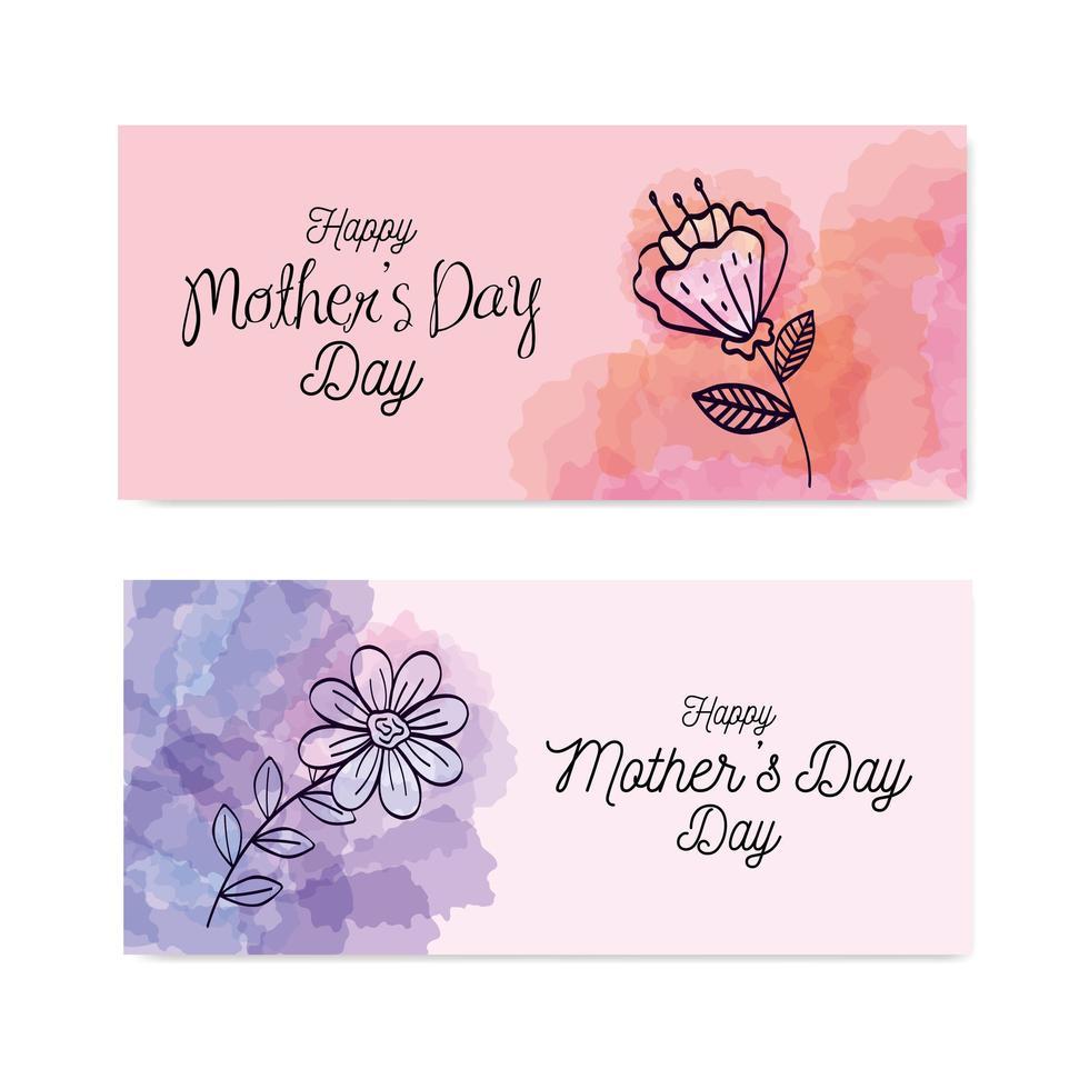 impostare le carte di felice festa della mamma con decorazioni di fiori vettore