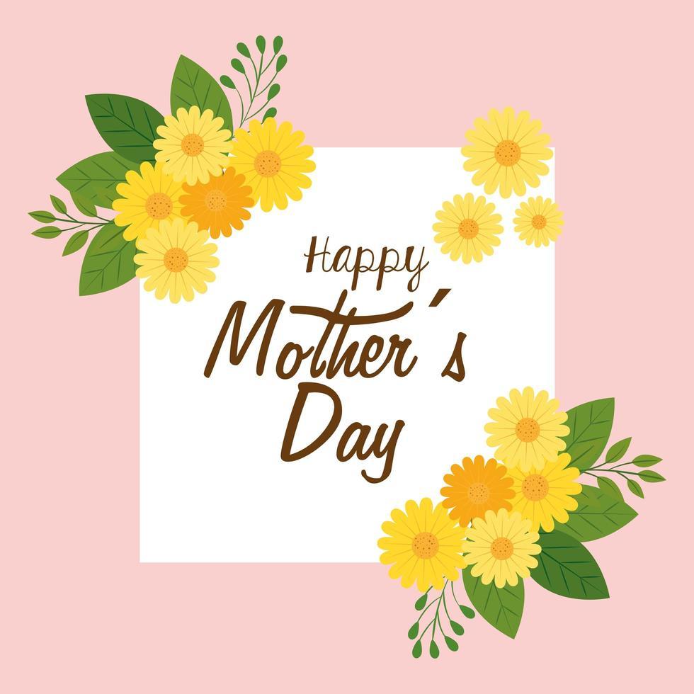 carta di felice festa della mamma con cornice quadrata e decorazioni floreali vettore