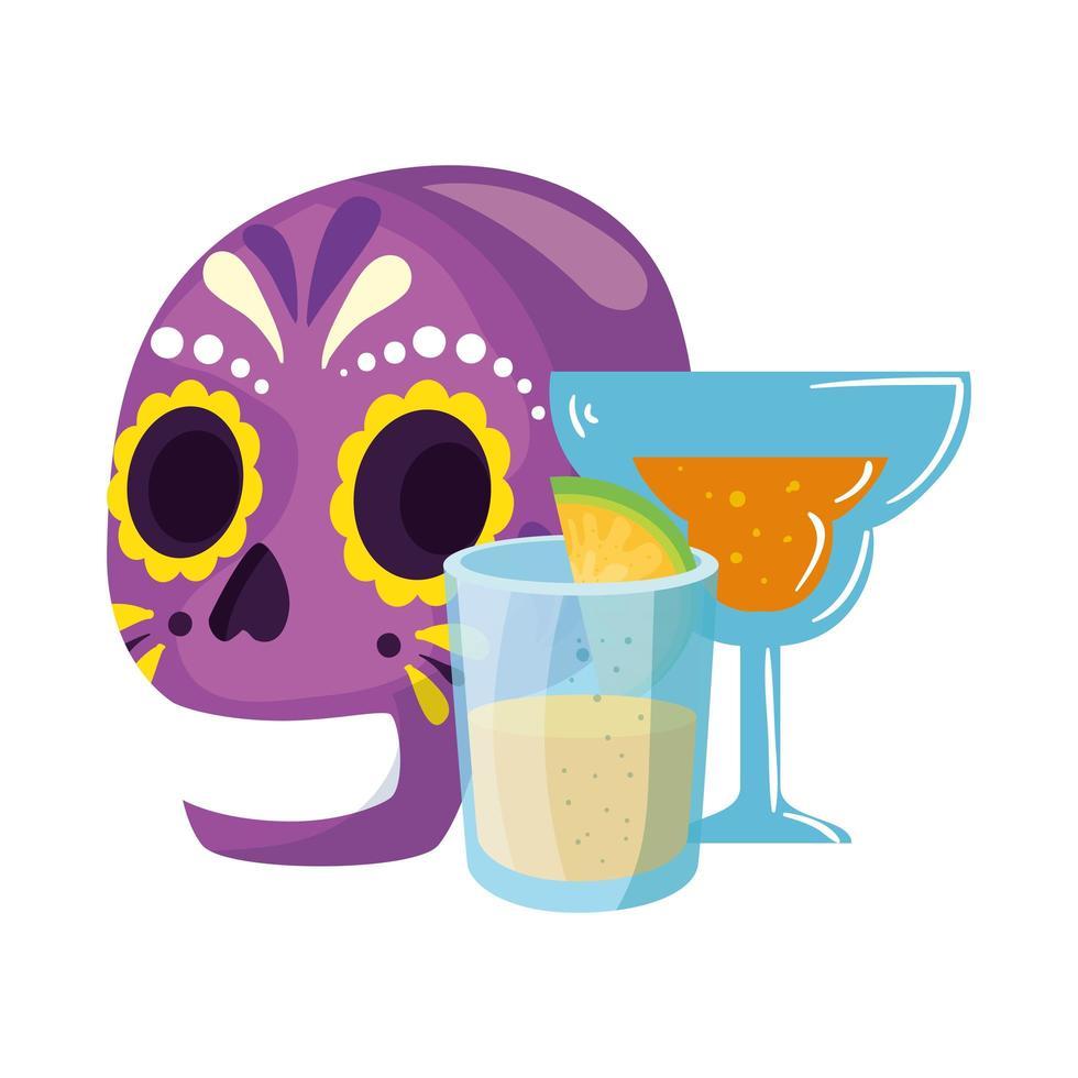 isolato cranio messicano cocktail e tequila shot disegno vettoriale