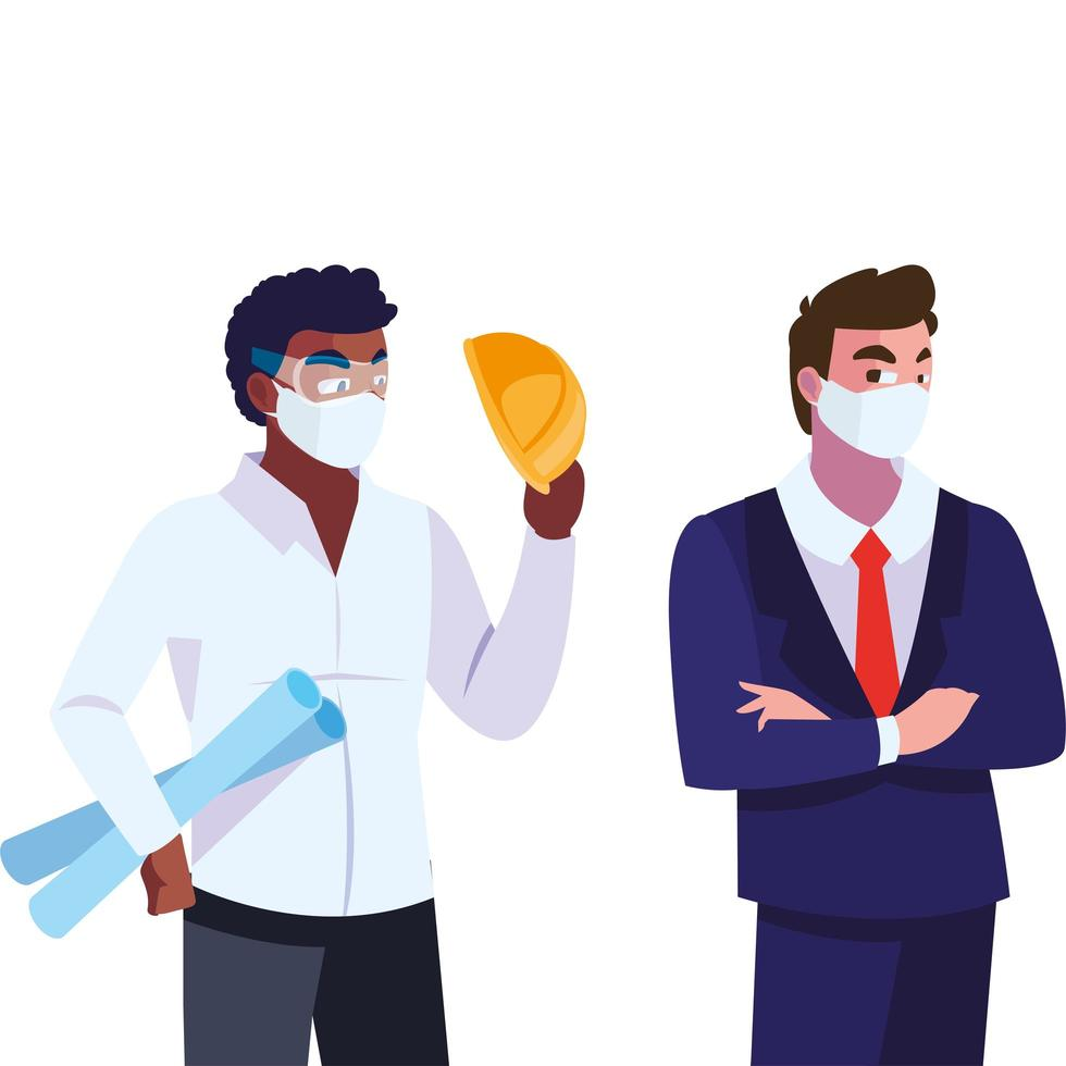 persone ingegnere ed dirigente con maschera vettore