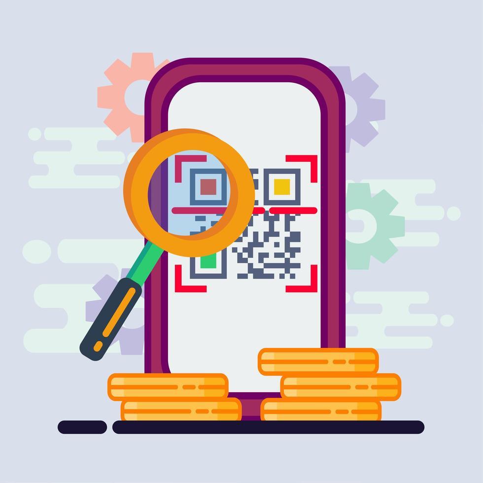 illustrazione di concetto di pagamento del codice qr di scansione dello smartphone vettore