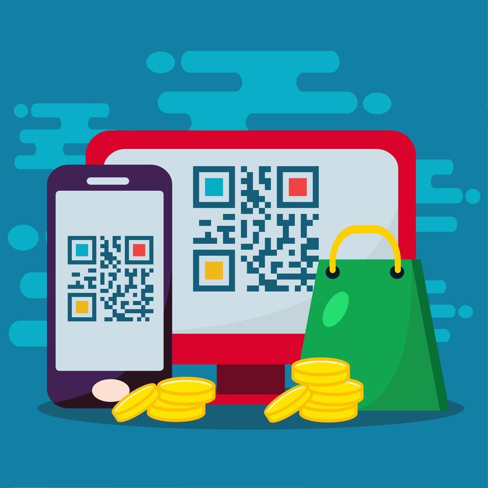 lo shopping online utilizza l'illustrazione del concetto di codice qr vettore