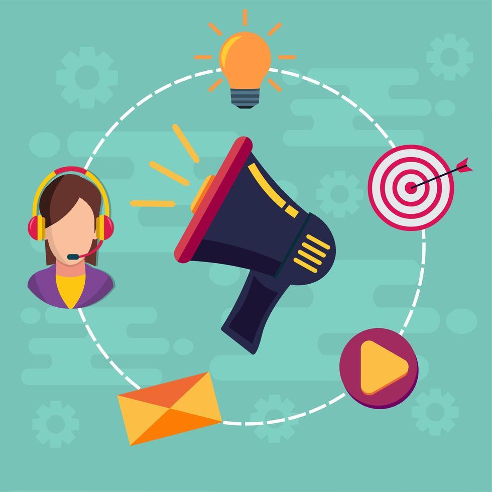 illustrazione del concetto di marketing digitale vettore