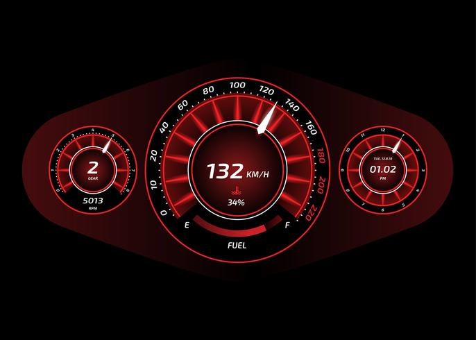 Auto Dashboard UI Red Vector