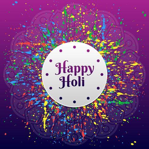 Felice Holi Festival Of Colors saluto sfondo vettoriale