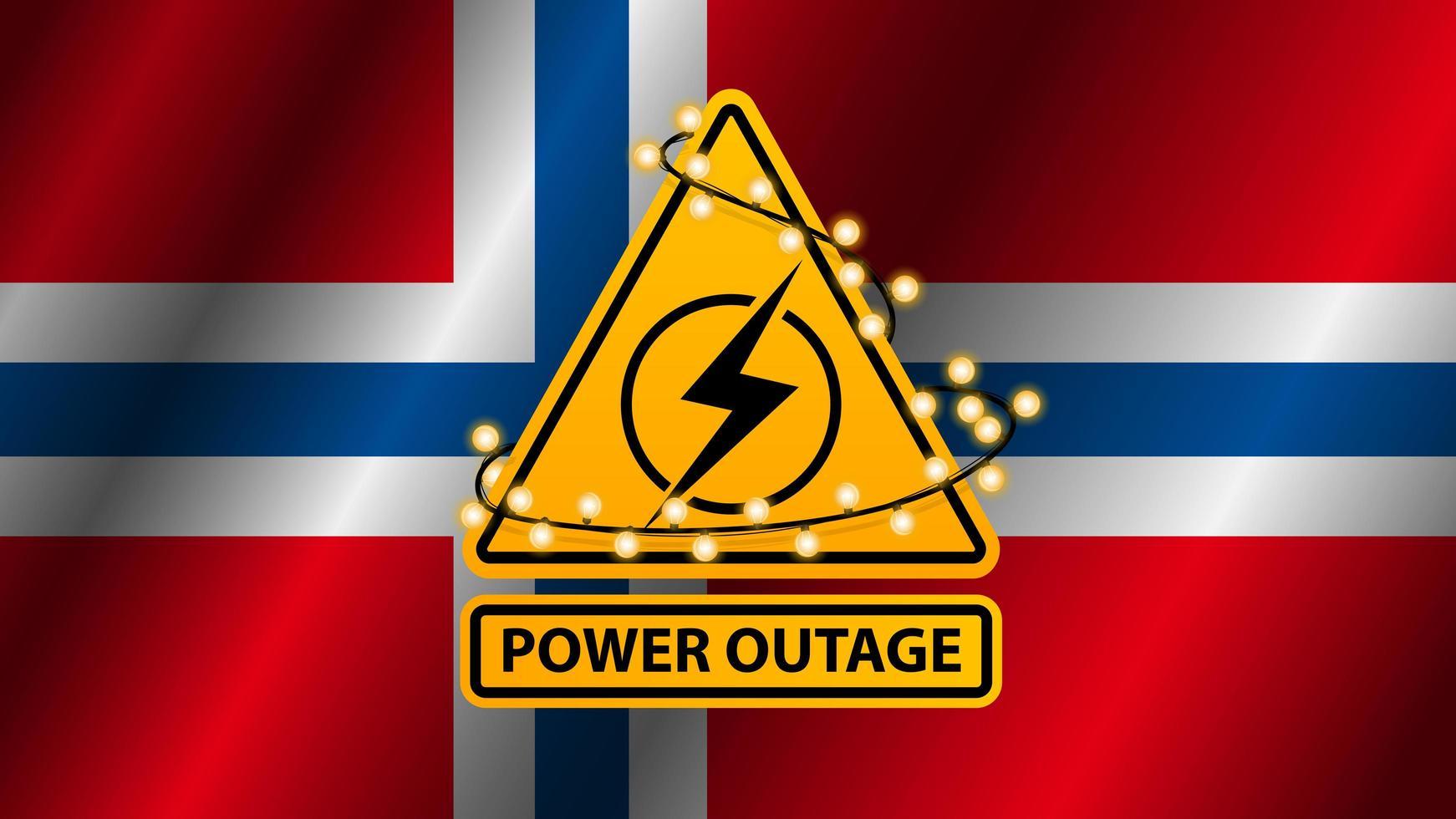 interruzione di corrente, segnale di avvertimento giallo avvolto con ghirlanda sullo sfondo della bandiera della norvegia vettore
