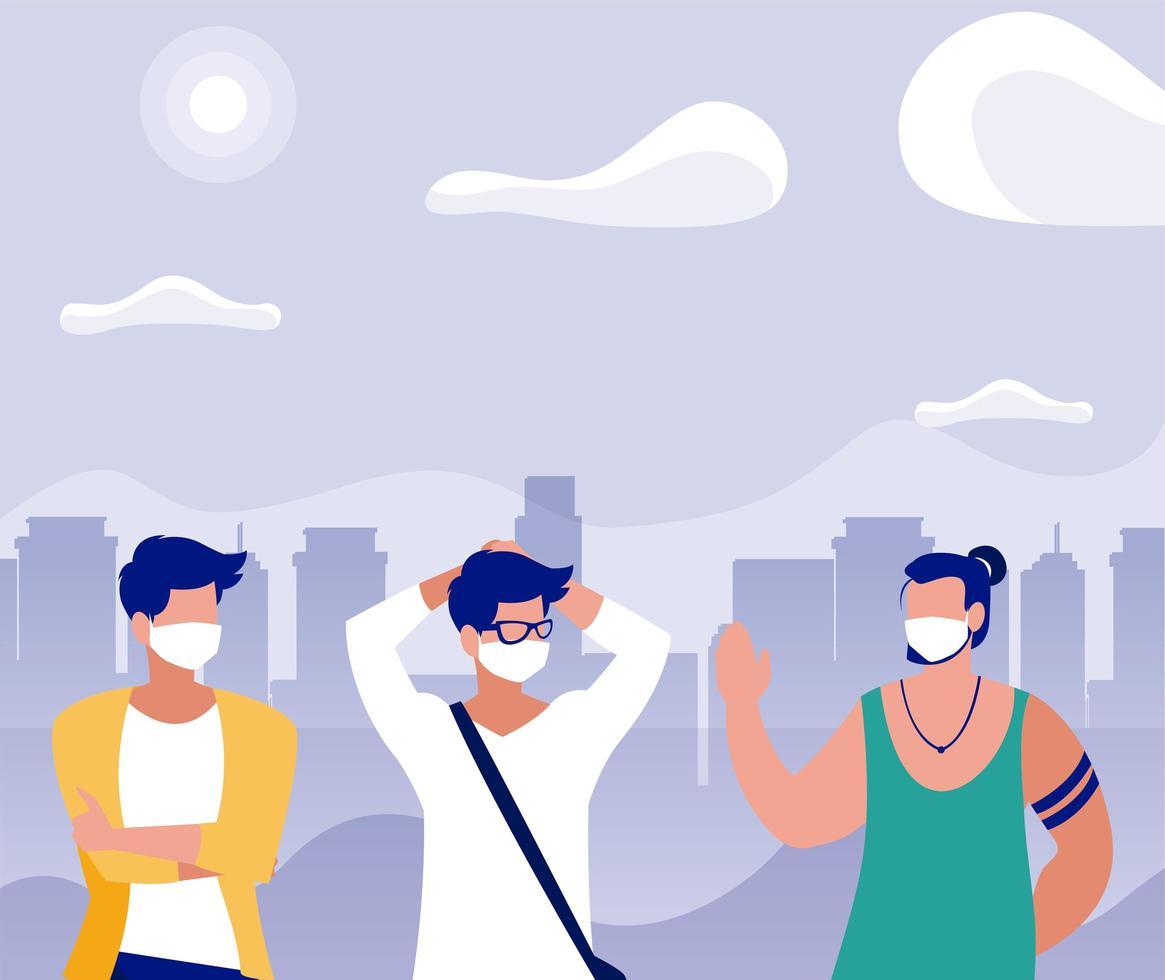 uomini con maschere al parco di fronte al disegno vettoriale di edifici della città