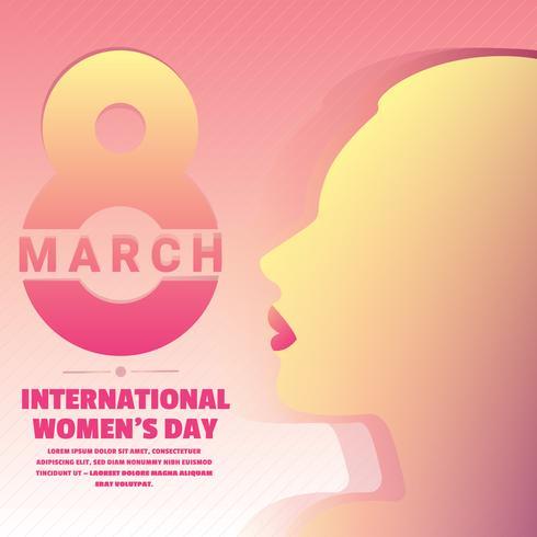 Il giorno internazionale del `s delle donne con testo e la bella donna profila l'illustrazione di vettore