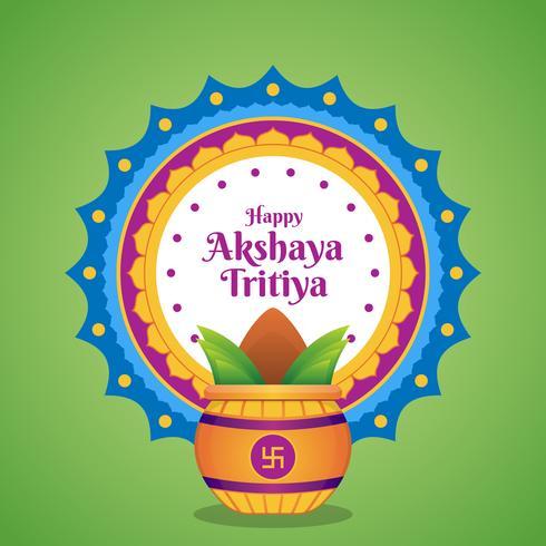 Celebrazione di Akshaya Tritiya con un'illustrazione dorata del Kalash vettore