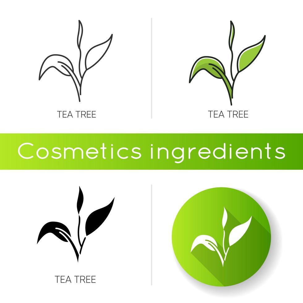 icona dell'albero del tè. componente del prodotto per la cura della pelle. vettore