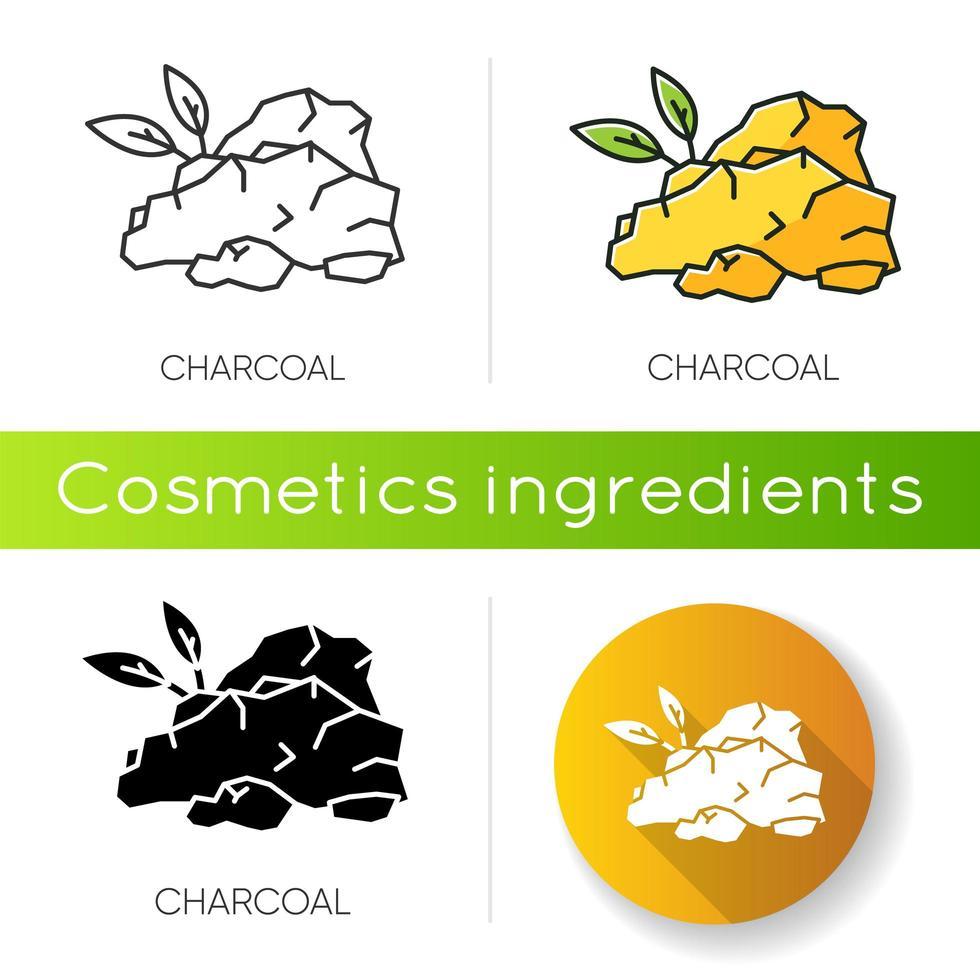 icona di carbone di legna. componente naturale per la cura della pelle. vettore