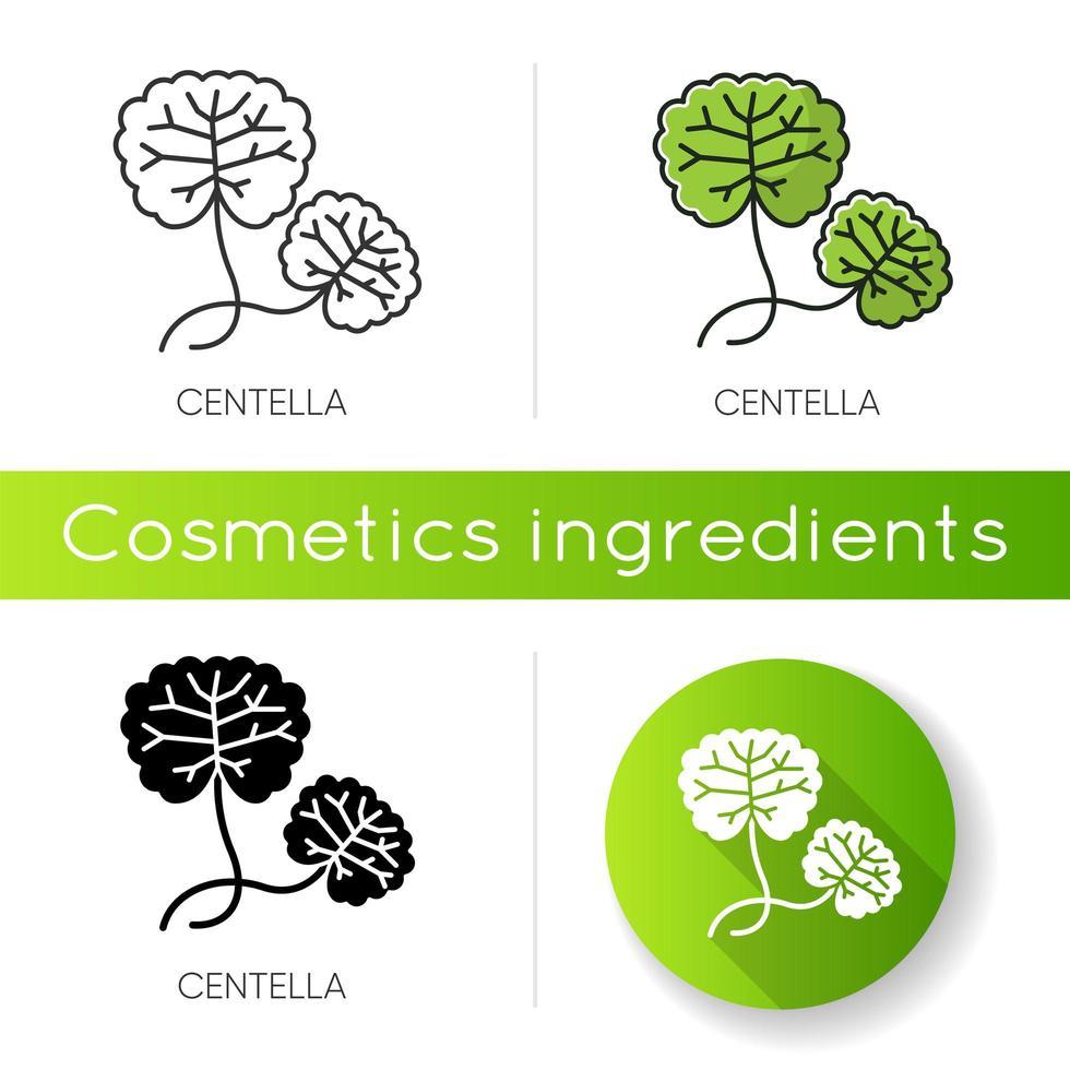 icona di centella. pianta curativa. componente a base di erbe. cura della pelle naturale. vettore