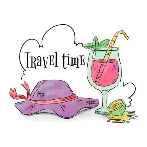 Cappello da viaggio e cocktail con limone e nuvole vettore