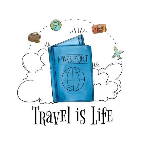 Passaporto con elementi di viaggio intorno al tempo di viaggio vettore