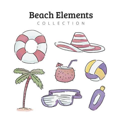 Collezione Beach Elements In Watercolor Style vettore