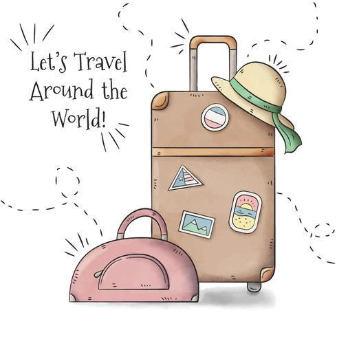 Travel Baggages With Woman Hat alla stagione estiva vettore