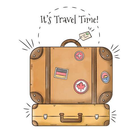 Pacchetto di valigie con francobolli viaggi per la stagione estiva vettore