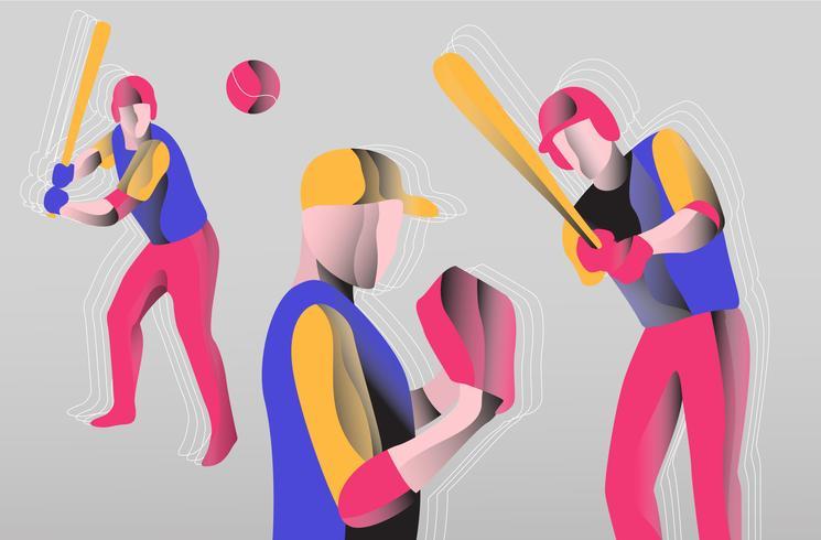 Illustrazione piana di vettore variopinto astratto del giocatore di baseball