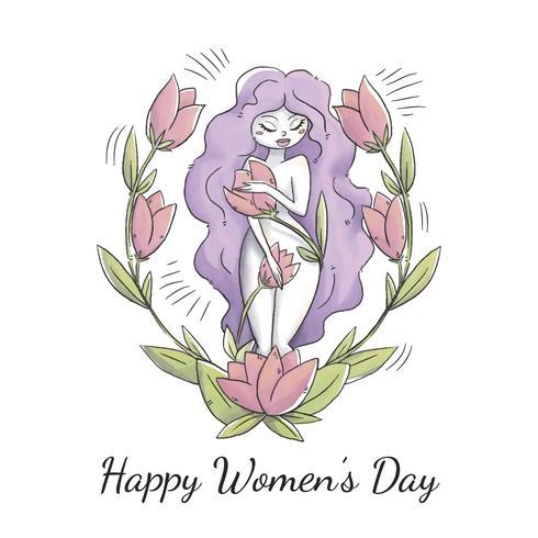 Carattere carino donna con capelli lunghi viola, foglie e fiori per la giornata della donna vettore