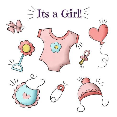Fondo sveglio della doccia di bambino con gli elementi della neonata vettore