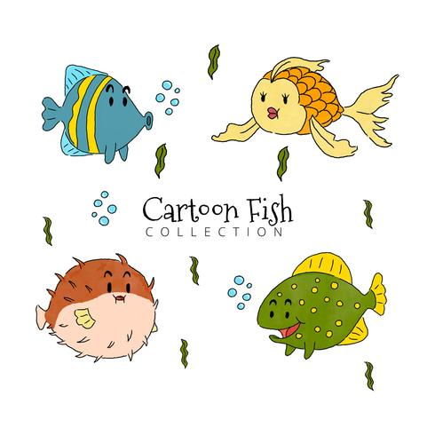 Collezione di pesci del fumetto vettore