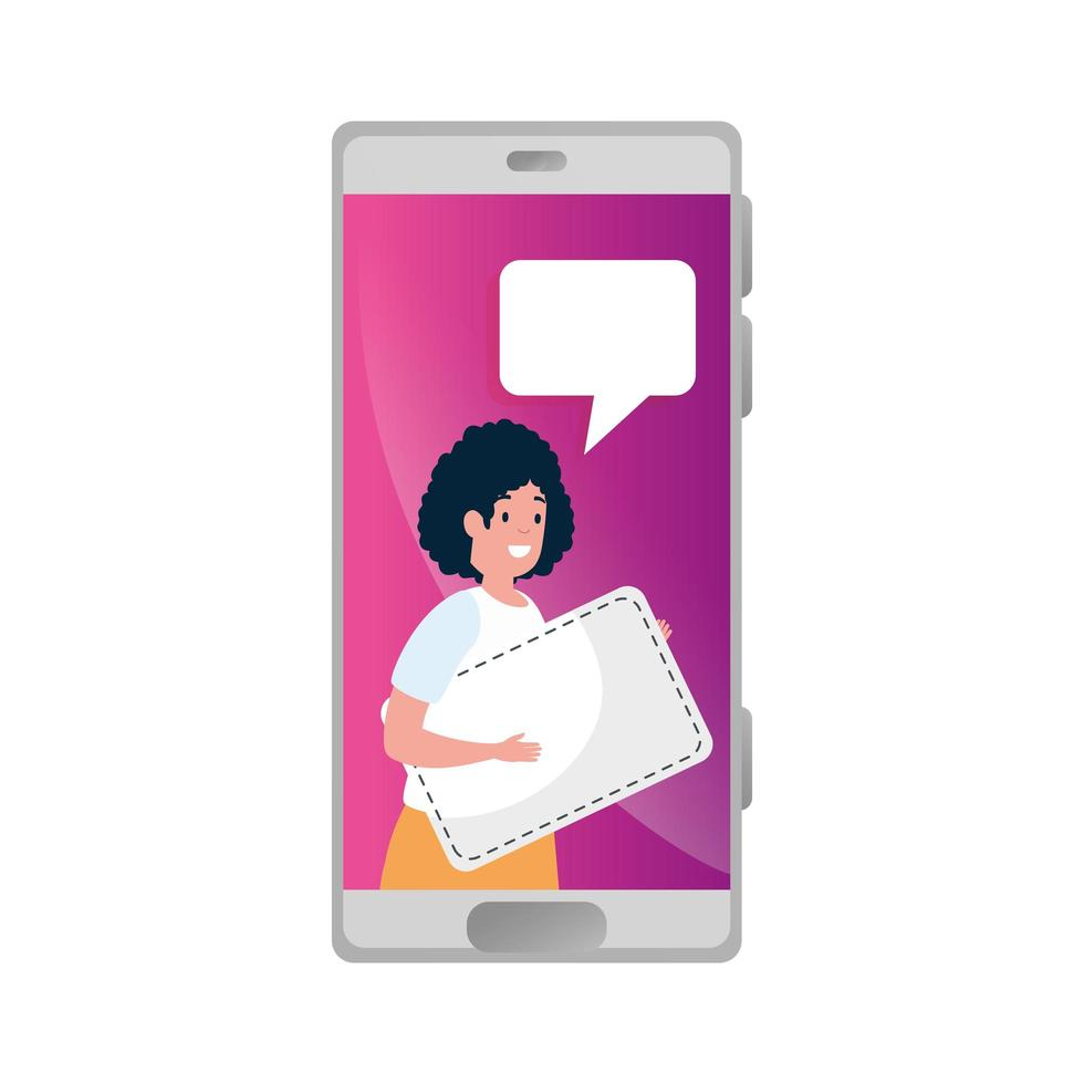 smartphone e donna con il fumetto sullo schermo vettore