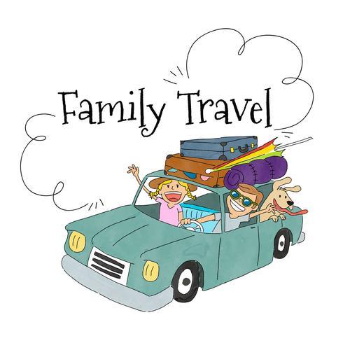 Scena di viaggio con la famiglia all'interno di un'auto con i bagagli da viaggiare vettore