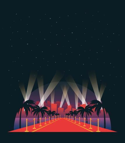 Fondo dell'illustrazione di vettore del tappeto rosso di Hollywood
