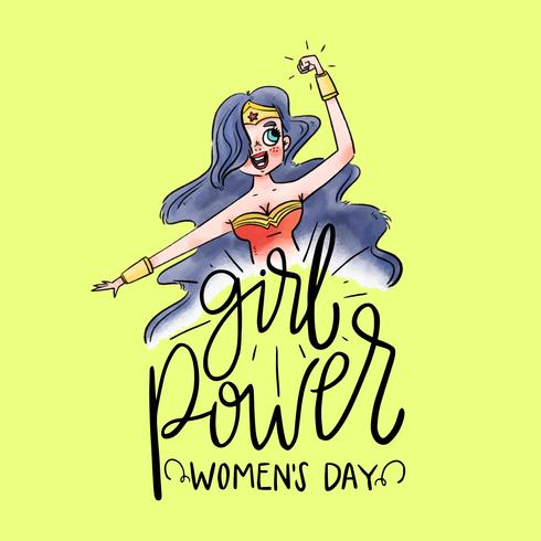 Lettering About Women's Day con Super Hero Wonder Woman vettore