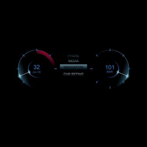 Vettore dell'illustrazione di Dashboard UI dell'automobile