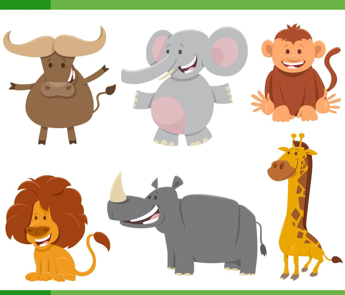 set di caratteri animali selvatici africani dei cartoni animati vettore