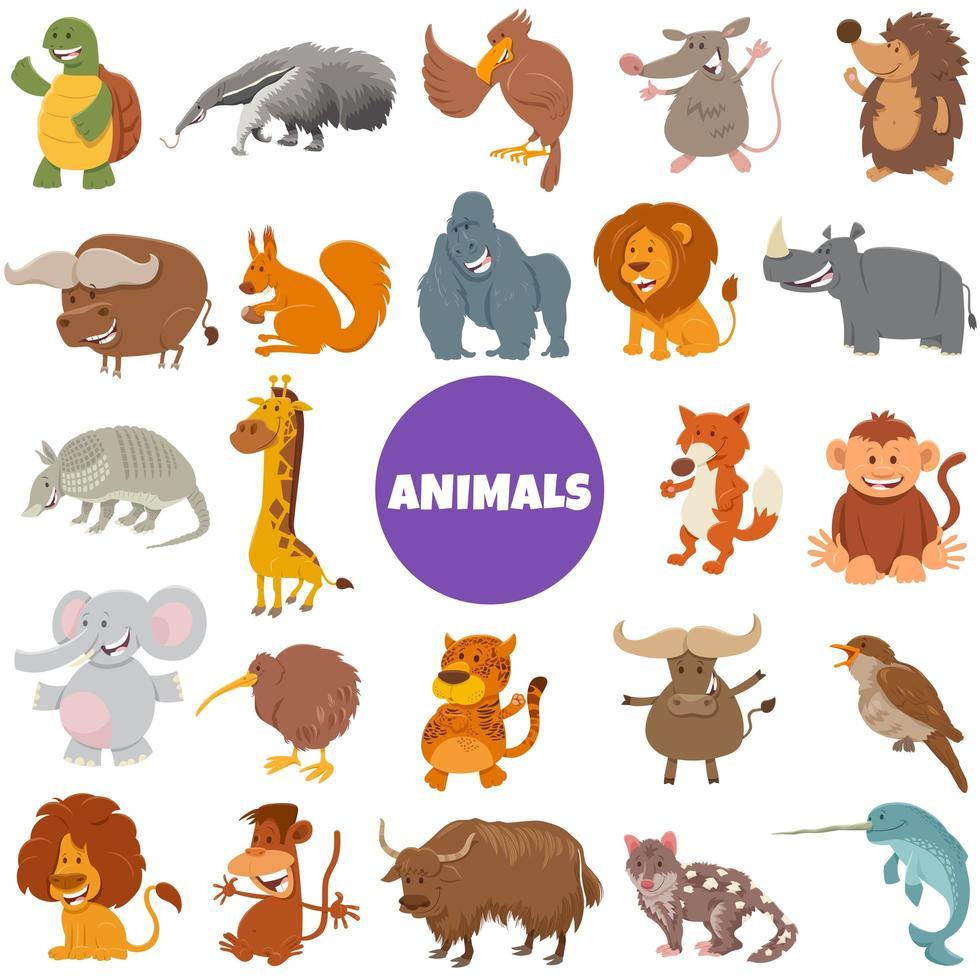 grande set di personaggi di animali selvatici dei cartoni animati vettore