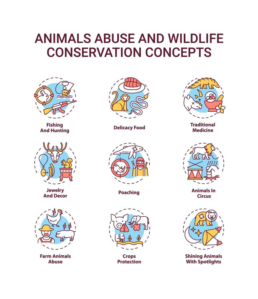 set di icone di concetto di abuso di animali e conservazione della fauna selvatica vettore