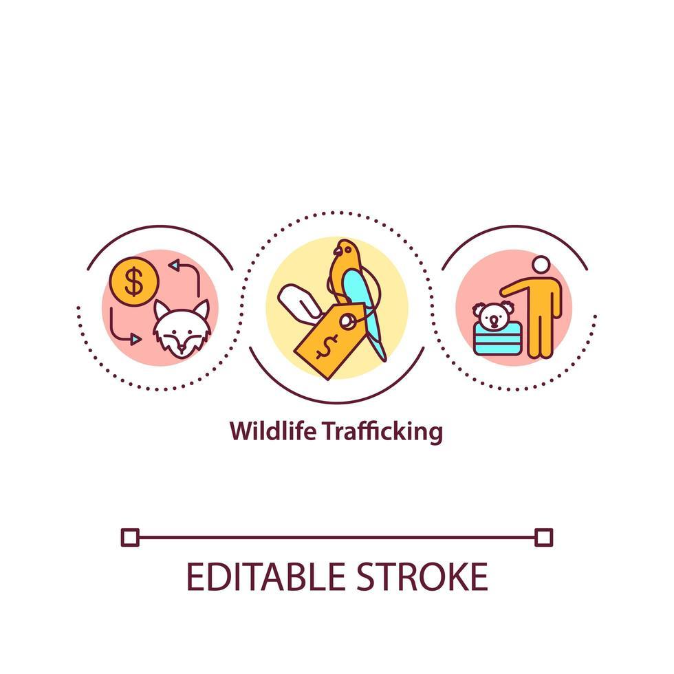 icona del concetto di traffico di fauna selvatica vettore