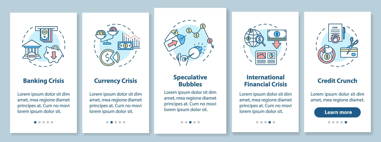 schermata della pagina dell'app mobile di onboarding della crisi finanziaria con concetti. vettore