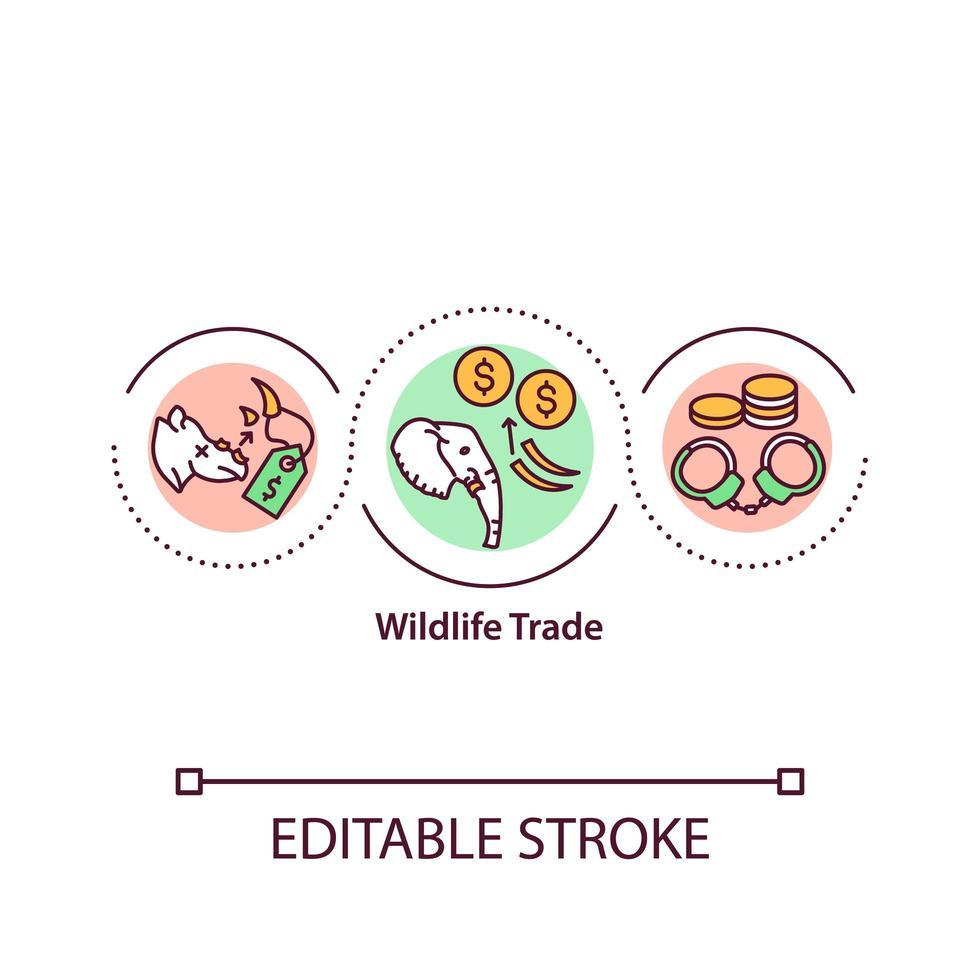 icona del concetto di commercio di fauna selvatica vettore