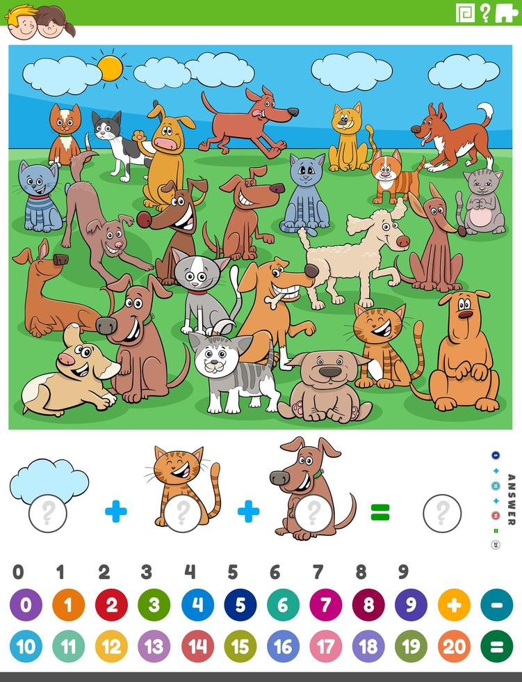 contare e aggiungere attività con animali da compagnia dei cartoni animati vettore
