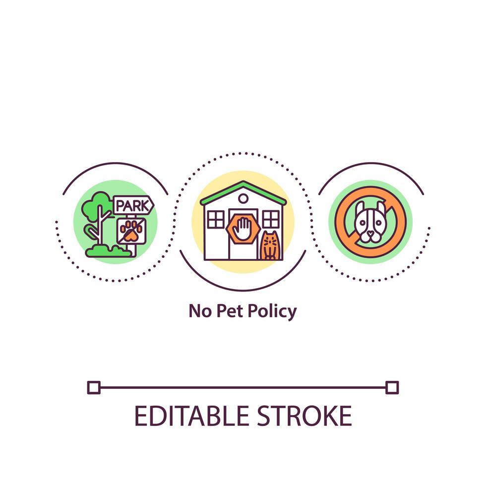 nessuna icona del concetto di politica per animali domestici vettore