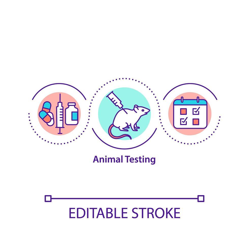 icona di concetto di sperimentazione animale vettore