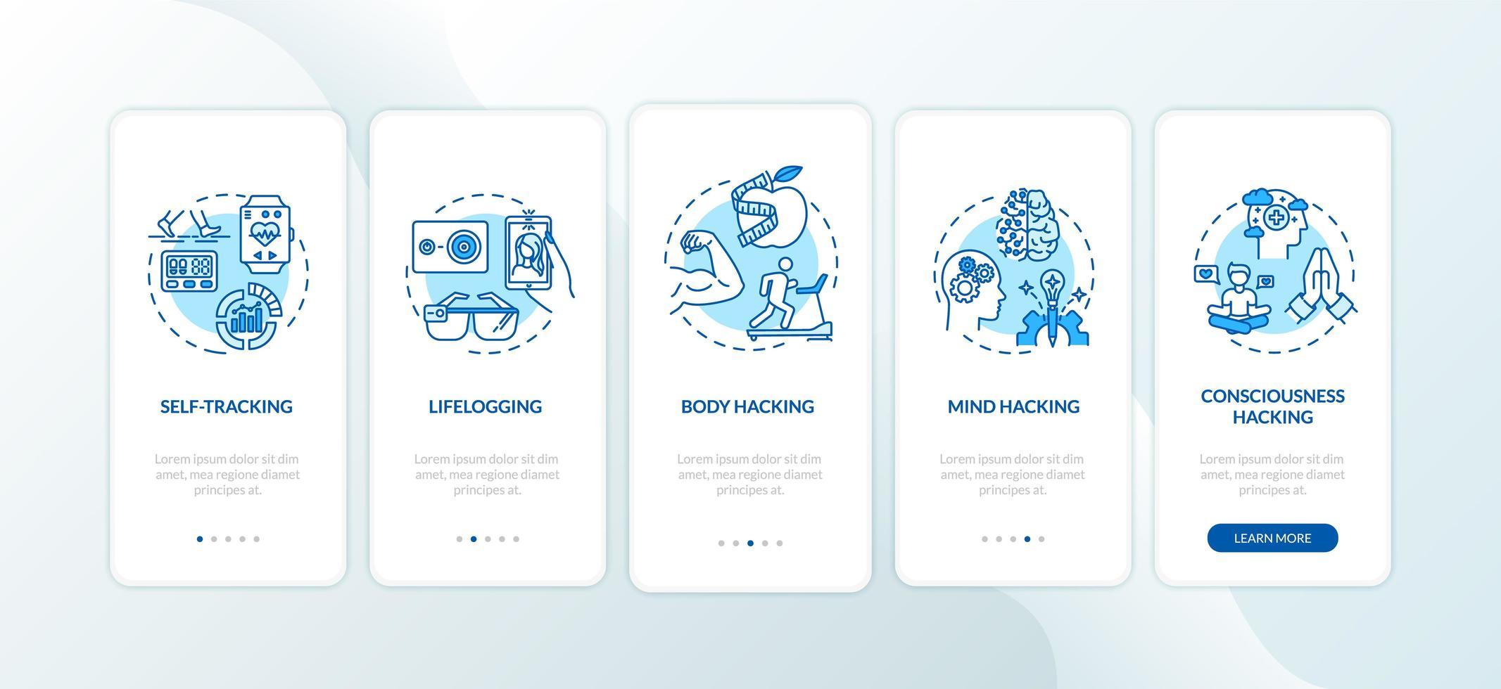 elementi di biohacking nella schermata della pagina dell'app mobile con concetti vettore