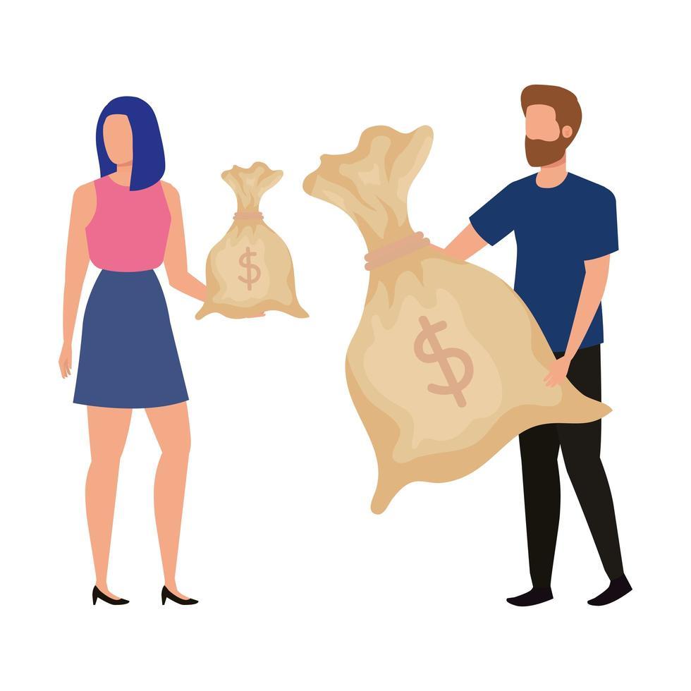 giovane coppia con personaggi di avatar di borse di denaro vettore