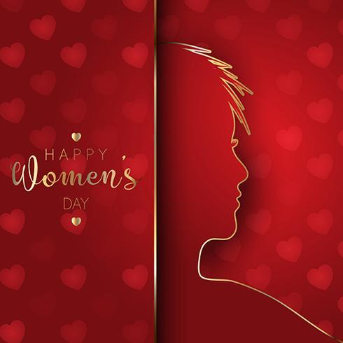 Sfondo del giorno delle donne con silhouette femminile vettore