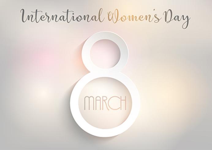 Priorità bassa di giorno delle donne internazionali con disegno luci bokeh vettore