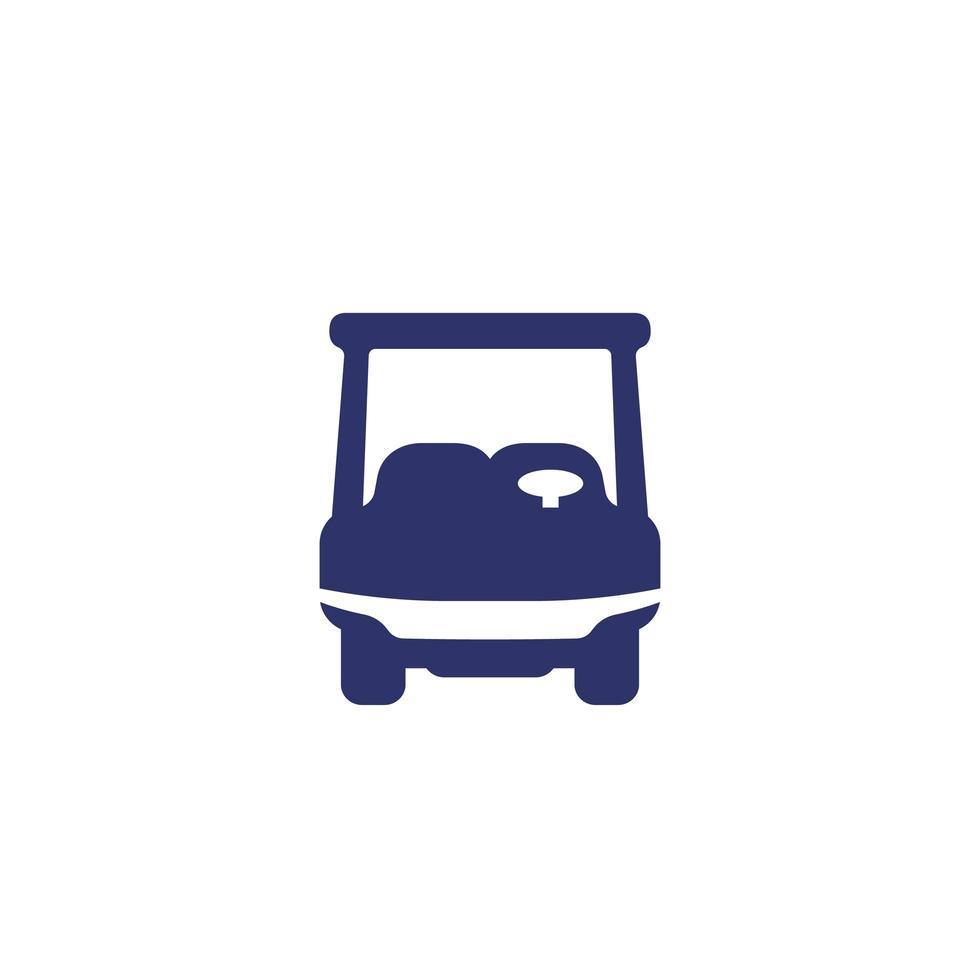 carrello da golf, icona di auto su bianco vettore