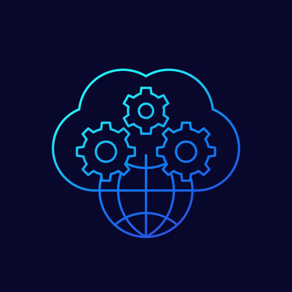 icona lineare di cloud e rete vettore
